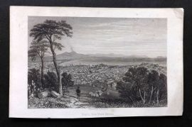 Milner 1864 Antique Print. Naples from the Monte Martino, Italy